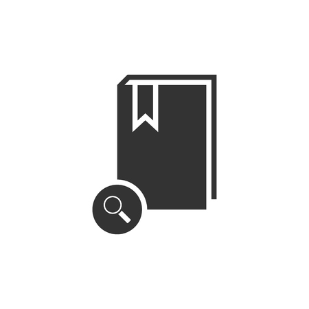 Book search. Black Icon Flat on white background