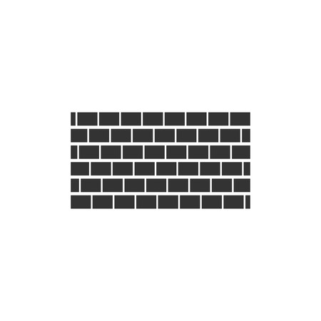 Brick wall. Black Icon Flat on white background