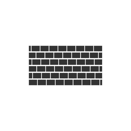 Brick wall. Black Icon Flat on white background