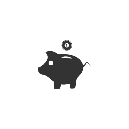 Moneybox. Black Icon Flat on white background 向量圖像