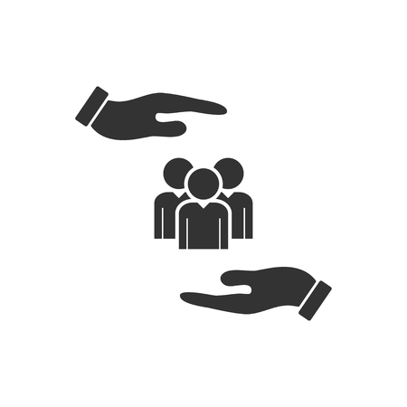 Helping hands. Black Icon Flat on white background  イラスト・ベクター素材