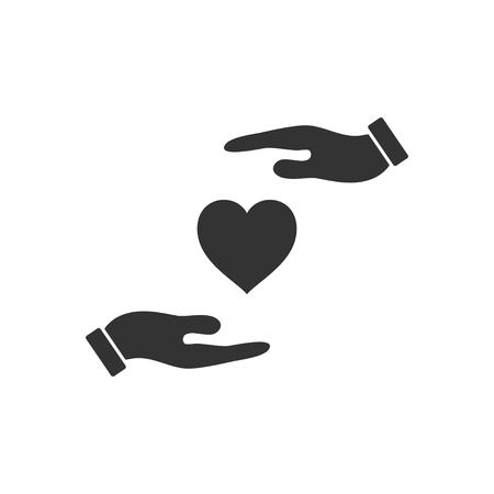 Heart in hand. Black Icon Flat on white background