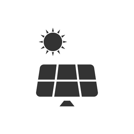 Solar panel. Black Icon Flat on white background