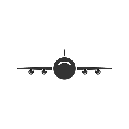 Aircraft. Black Icon Flat on white background