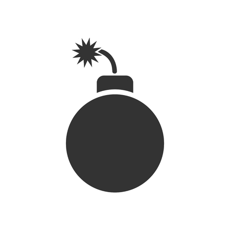Bomb. Black Icon Flat on white background Vettoriali