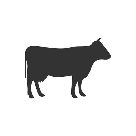 Cow. Black Icon Flat on white background Illustration