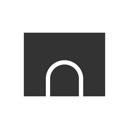 Tunnel. Black Icon Flat on white background