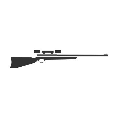 Sniper Rifle. Black Icon Flat on white background Illustration