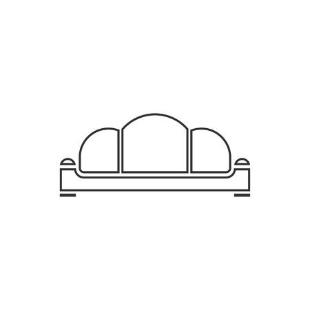 Sofa. Zwart pictogram plat op witte achtergrond Vector Illustratie