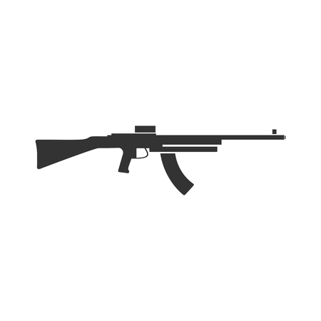 Machine gun. Black Icon Flat on white background