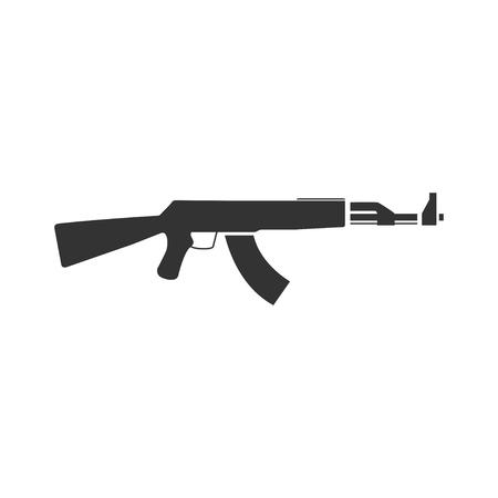 Assault rifle. Black Icon Flat on white background