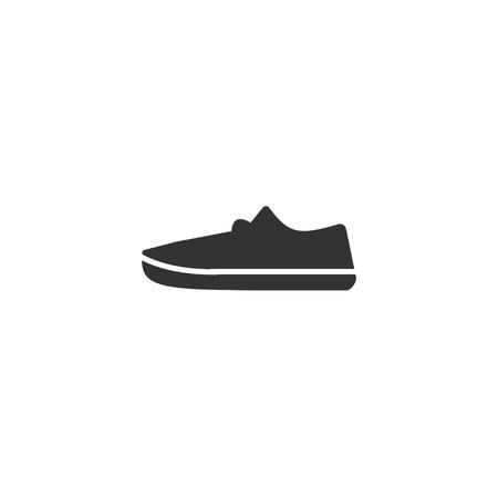 Sneakers. Black Icon Flat on white background