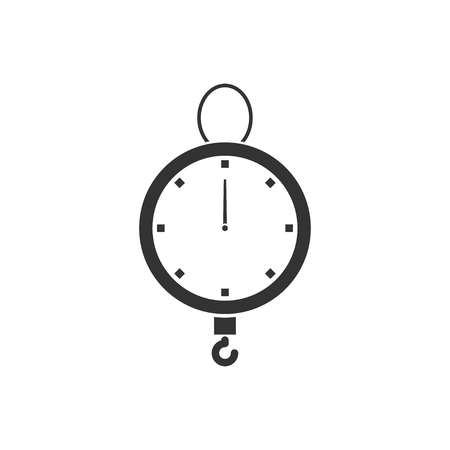 Spring scale. Black Icon Flat on white background  イラスト・ベクター素材