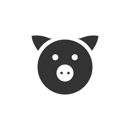 Pig. Black Icon Flat on white background Ilustração