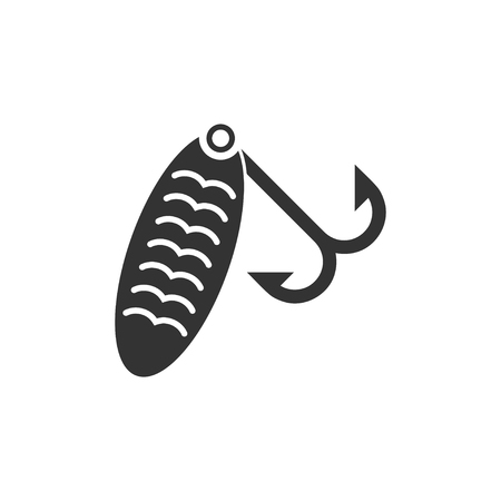 Fishing tackle. Black Icon Flat on white background Vettoriali