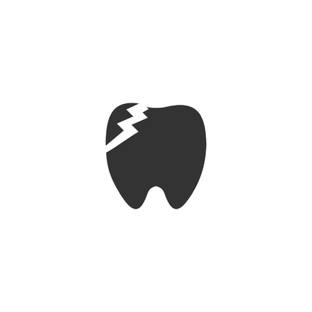 Dental Problem. Black Icon Flat on white background