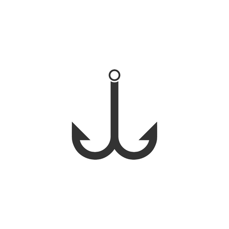 Fishhook icon. Black Icon Flat on white background