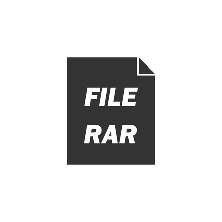 RAR. Black Icon Flat on white background