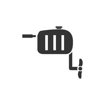 Outboard boat motor. Black Icon Flat on white background