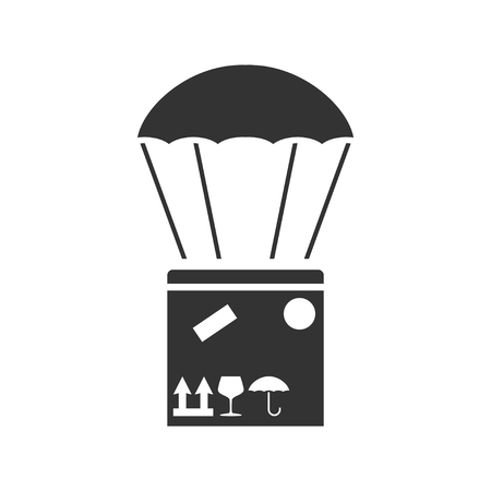 Aerial post delivery. Black Icon Flat on white background