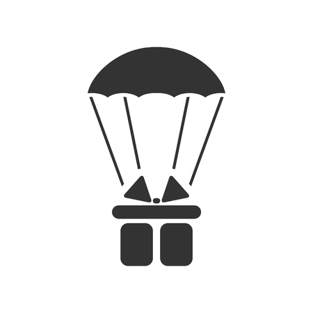 Parachute gift box package. Black Icon Flat on white background