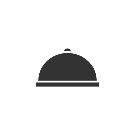 Covered Food. Black Icon Flat on white background