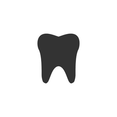 Tooth. Black Icon Flat on white background Vectores