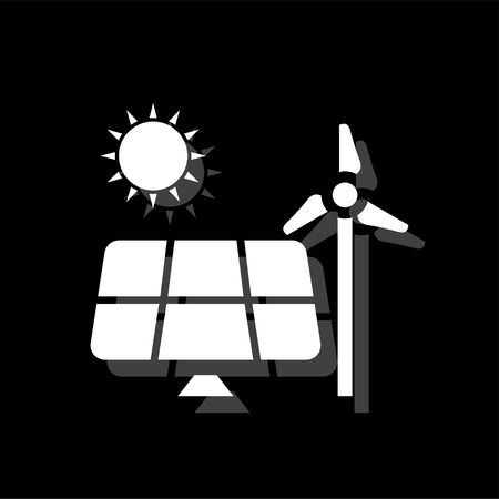 Solar panel and windmills for energy. White flat simple icon with shadow Archivio Fotografico - 125928583
