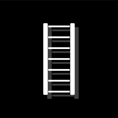 Ladder. White flat simple icon with shadow