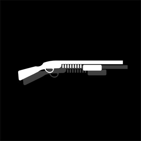 Fusil à pompe. Icône plate simple blanche avec ombre Vecteurs