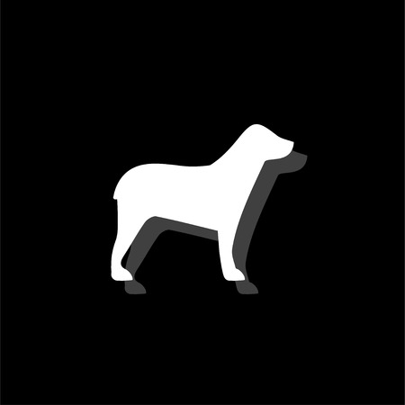 Dog. White flat simple icon with shadow Illustration