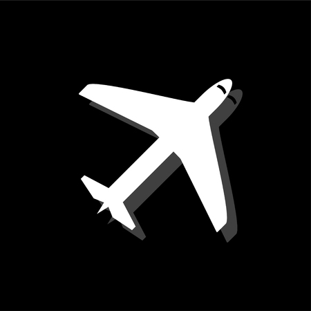 Airplane. White flat simple icon with shadow Иллюстрация