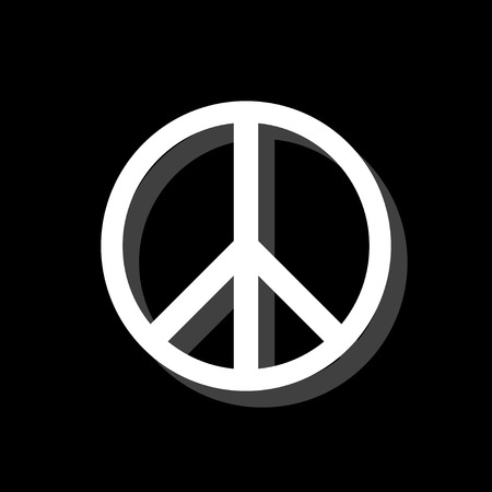 Hippie Peace. White flat simple icon with shadow Ilustrace