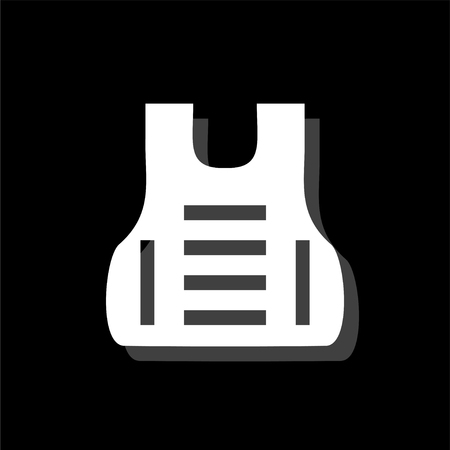 Bullet proof vest body armor suit. White flat simple icon with shadow Stock Illustratie