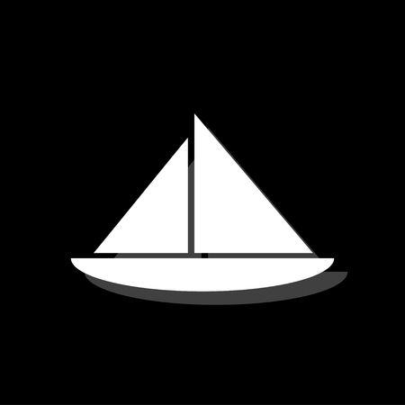 Sailing boat. White flat simple icon with shadow