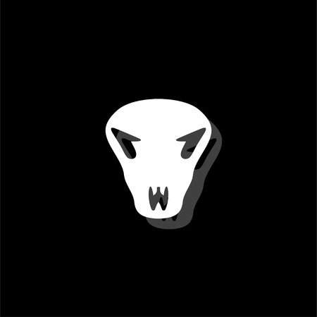 Cow skull. White flat simple icon with shadow