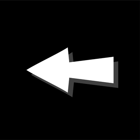 Arrow. White flat simple icon with shadow Illustration