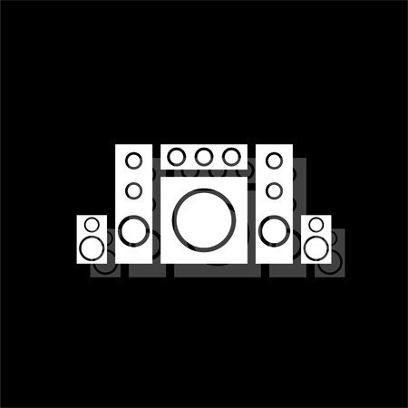 Home theater. White flat simple icon with shadow Stock Illustratie