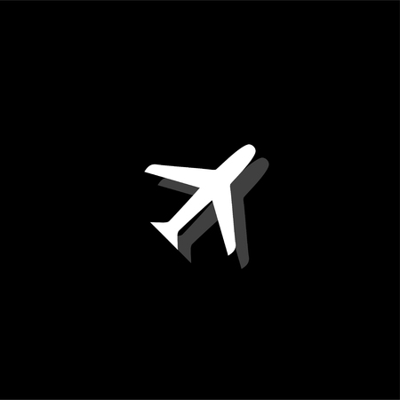 Airplanes. White flat simple icon with shadow Illustration