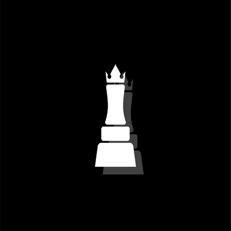Chess queen. White flat simple icon with shadow