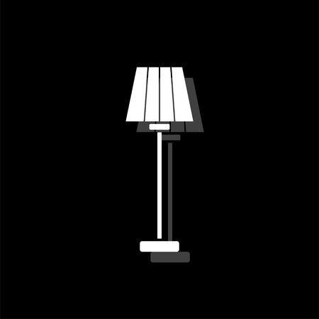 Floor lamp. White flat simple icon with shadow 스톡 콘텐츠 - 125835088