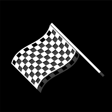 Racing Flag. White flat simple icon with shadow Ilustrace