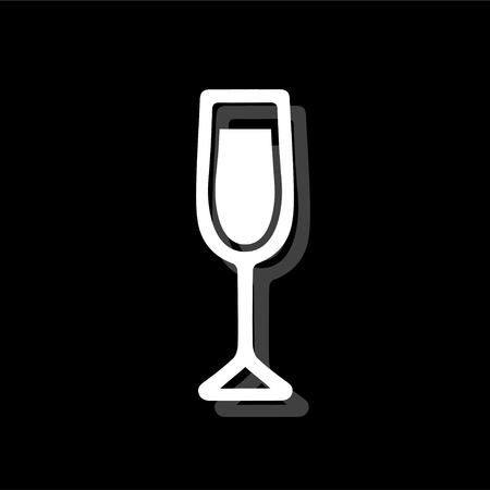 Wine Glass. White flat simple icon with shadow Ilustrace