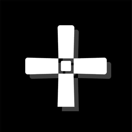 Halloween Grave Cross. White flat simple icon with shadow