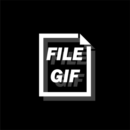 GIF File. White flat simple icon with shadow Illustration