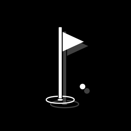 Golf Flag. White flat simple icon with shadow