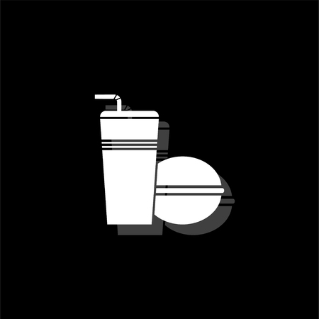 Fast food. White flat simple icon with shadow