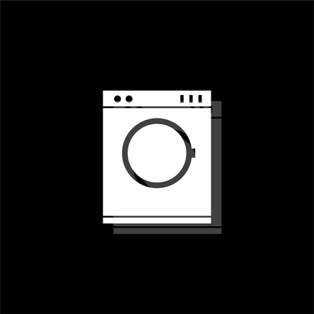 Washing machine. White flat simple icon with shadow