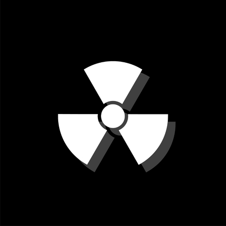 Radiation. White flat simple icon with shadow Imagens - 116514565