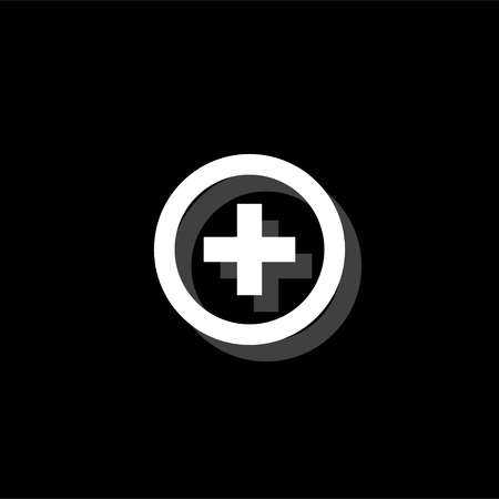 Medical cross. White flat simple icon with shadow Vectores